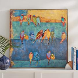 Colored Birds on a Wire Wall Art