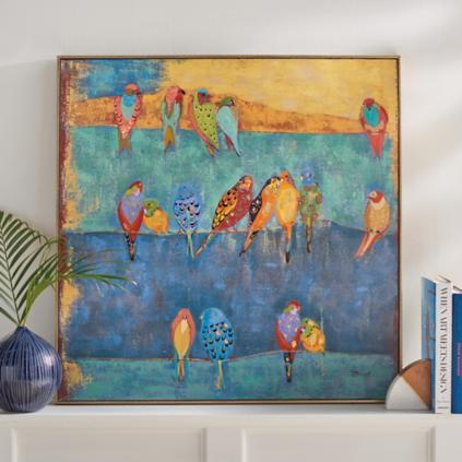 Colored Birds On A Wire Wall Art Part 94