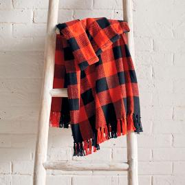 Orange Buffalo Check Throw