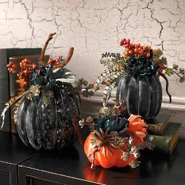 Midnight Garden Pumpkins, Set of Three
