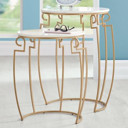 deco marble top nesting tables set of two