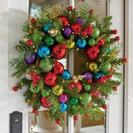 Merry and Bright Cordless Wreath, 28in