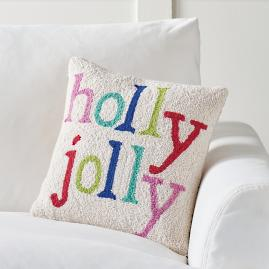 Merry and Bright Hook Pillow, Holly Jolly