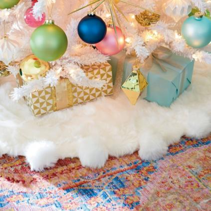 White Faux Fur Tree Skirt Grandin Road