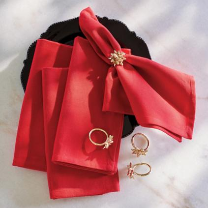 Gold Bow Napkin Rings Set of Four