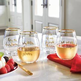 Festive Phrases Stemless Wine Glasses, Set of Four