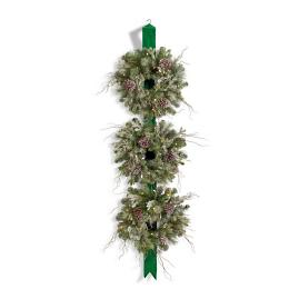 Cordless Winter Three Wreaths on Ribbon