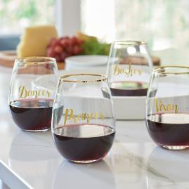 Reindeer Names Stemless Wine Glasses, Set of Four