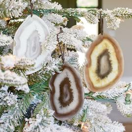 Glass Geode Ornaments, Set of Three