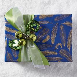 Cobalt Feathers Handmade Wrapping Paper
