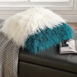 Iris Apfel Colorblock Mongolian Fur Pillow