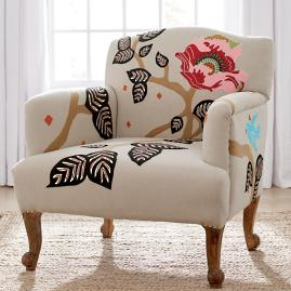 Linnet Embroidered Armchair