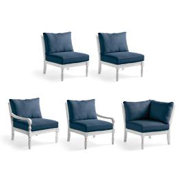Yorkshire 5-pc. Seating Set in Weathered Chalk Finish