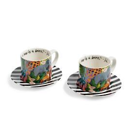 Iris Apfel Two Tea Cup Set with Saucers & Iris Apfel Jungle Print Dessert Plates Set of Four | Grandin Road