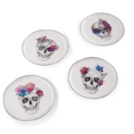 Watercolor Skull Plates, Set of Four