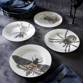 Metallic Insect Plates, Set of Four