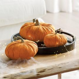 Faux Suede Pumpkins, Set of Three