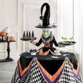 Katherine's Collection Mable Witch Tabletop Server with Harlequin
