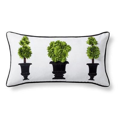 Topiary Outdoor Lumbar Pillow, Green - Grandin Road