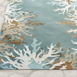 Starfish Coral Border Outdoor Rug