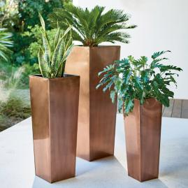 Stainless Steel Column Planter with Insert
