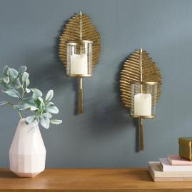 Palm Leaf Candle Sconces, Set of Two