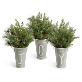 JOY Buckets with Greenery, Set of Three