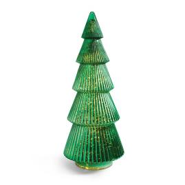 Pre-lit Glass Tree Dark Green