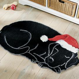 Holiday Black Lab Hooked Door Mat