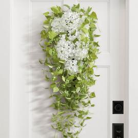 Haley White Hydrangea Door Swag