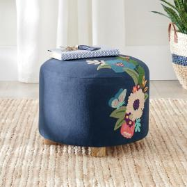 Astrid Embroidered Ottoman