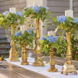 Haley Blue Hydrangea Candle Rings, Set of Five