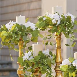 Haley White Hydrangea Candle Rings, Set of Five