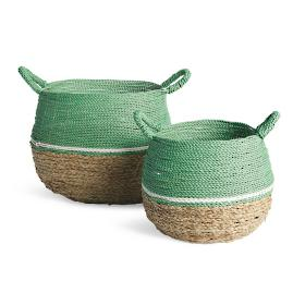 Colorblock Baskets, Set of Two