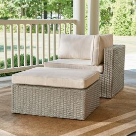 Garda Wicker Balcony Chair & Ottoman, Right Arm