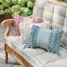 Fringe Lumbar Outdoor Pillow