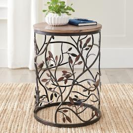 Bird Barrel Wood Side Table