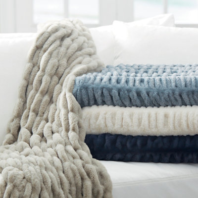 Ruched Faux Fur Throw - Ice Blue - Grandin Road