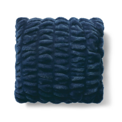 Ruched Faux Fur Pillow - Navy/Square, 18X18 Square - Grandin Road