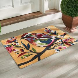 Autumn Bird Hooked Door Mat