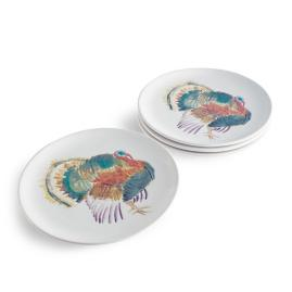 Watercolor Turkey Plates, Set of Four