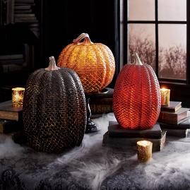 Dragon Scale Lit Pumpkins