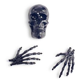 Gothic Skull and Hands, Set of Three