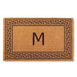 Greek Key Monogram Coir Door Mat