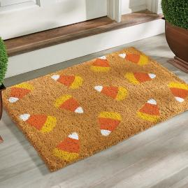 Candy Corn Coir Door Mat