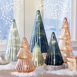 Blue Mercury Glass LED Trees, Set of Two