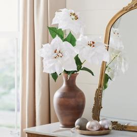 White Poinsettia Stem, Set of Three
