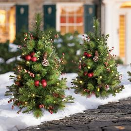 Hadley Holiday Cordless Pathway Tree, Set of Two