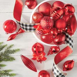 Crimson Christmas Ornaments, Set of 20