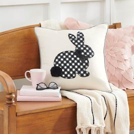 Gingham Bunny Pillow with Bow